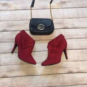 Red suede booties ❤️